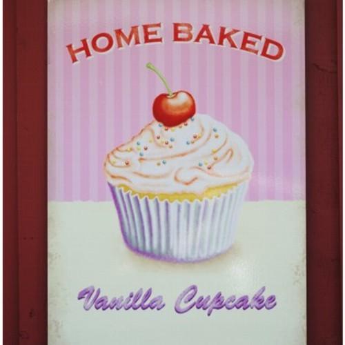 Metallschild Cupcake mittel Vanille Blechschild Muffin Magnettafel