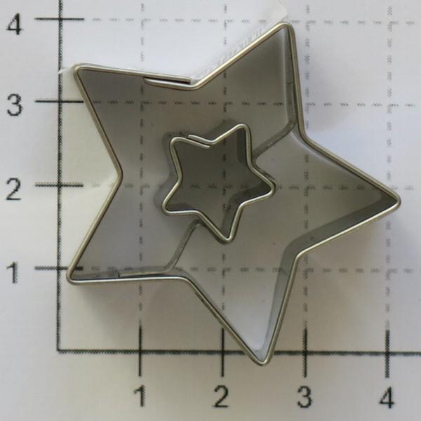 Ausstechform Stern in Stern 4 cm Präge Ausstecher Edelstahl Städter