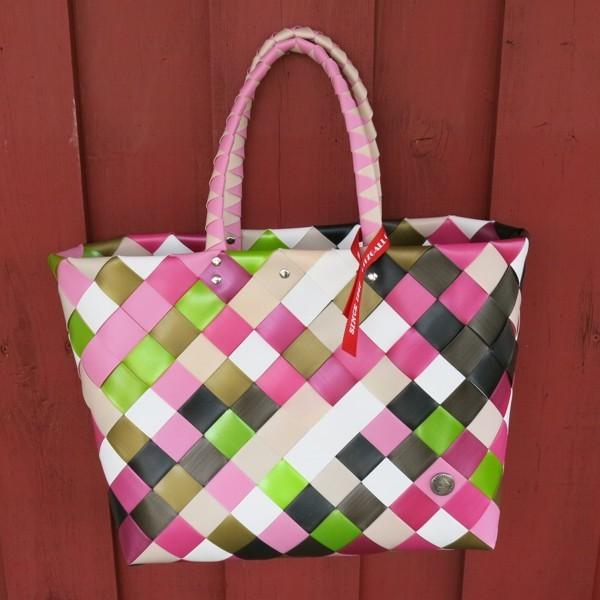 Witzgall ICE BAG Shopper 5017 39 pink grün weiß Diagonal Einkaufskorb