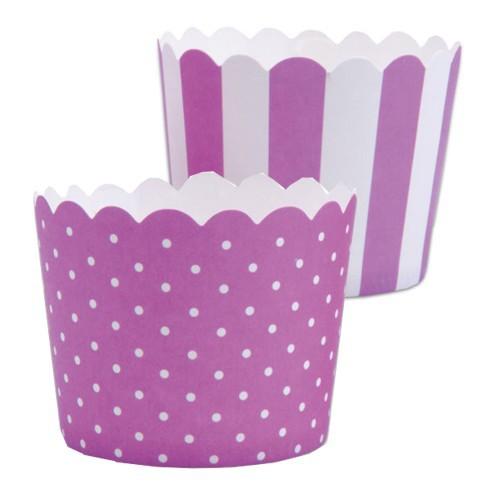 MINI Muffinförmchen Cupcake Papier Cups violett weiß Muffin Städter 12 Stück