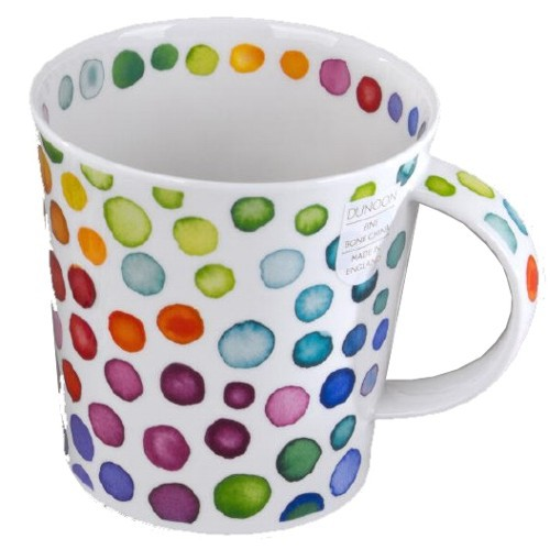 Dunoon Becher Hot Spots 0,48 l Kaffeebecher Teetasse Punkte Porzellan Bone China