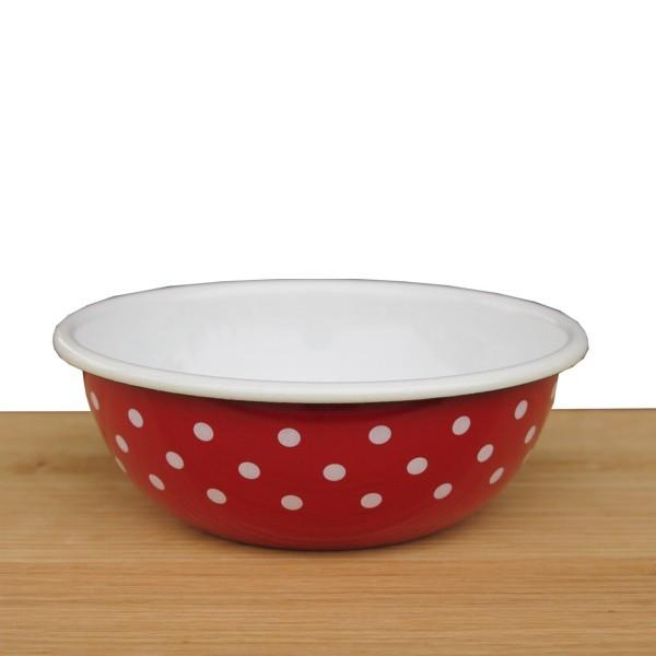 Riess Emaille Schüssel rot 14 cm Pünktchen weiß Punkte Küchenschüssel