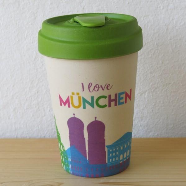 Bamboo Cup Coffee to go Becher München Skyline I love Bambus Kaffeebecher