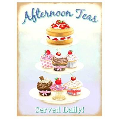 Metallschild Cupcake mittel Afternoon Tea Blechschild Muffin Magnettafel