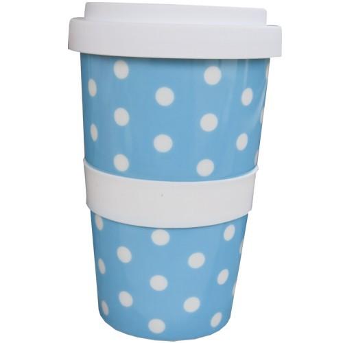 Coffee to go Becher blau Punkte weiß Polka Dots Kaffeebecher NEWSTALGIE