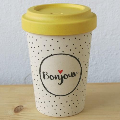 Bamboo Cup Coffee To Go Becher Bambus Bonjour Guten Tag Kaffeebecher