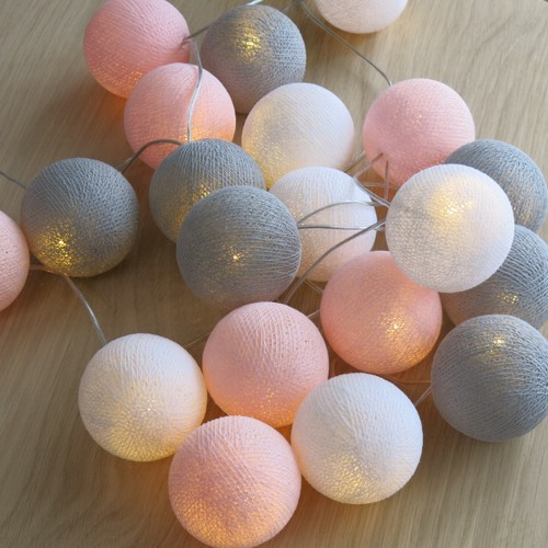 Cotton ball lights 20 er lichterkette rosa grau wei b lle - Lichterkette kinderzimmer ...
