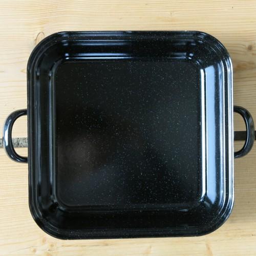 riess emaille br ter mit deckel schwarz 26 cm bratreine auflaufform email ebay. Black Bedroom Furniture Sets. Home Design Ideas