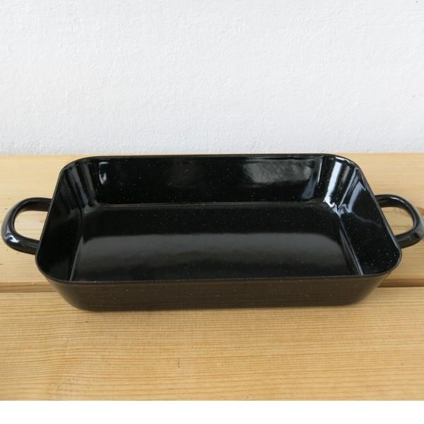 Riess Emaille Bratreine schwarz 37 cm Bräter Auflaufform Email Bratpfanne
