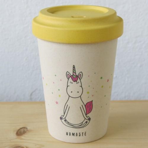 Bamboo Cup Coffee to go Becher Bambus Magic Namaste Yoga