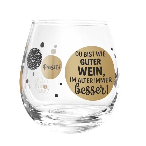 Formano Glas Spruch Du bist wie guter Wein im Alter immer besser Prosit Cocktail Gin