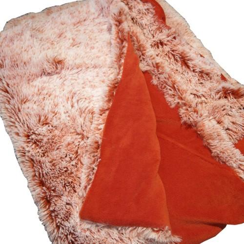 Felldecke rostrot Decke rot weiß 150 x 200 cm Fleece
