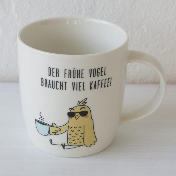 Vintage At Becher Der frühe Vogel braucht viel Kaffee Grafik Werkstatt