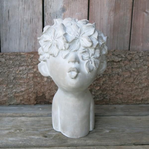 Frauenkopf Büste Garten Blumen Kopf Valo 30 cm