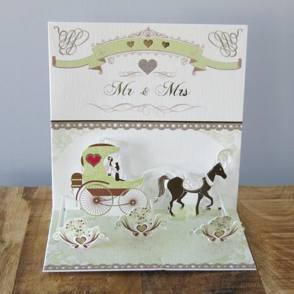 Pop Up Karte Hochzeit Mr & Mrs Kutsche Pferd 3 D