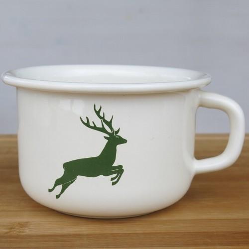 Riess Emaille Becher Hirsch grün 0,4 l Email Tasse Kaffeeschale