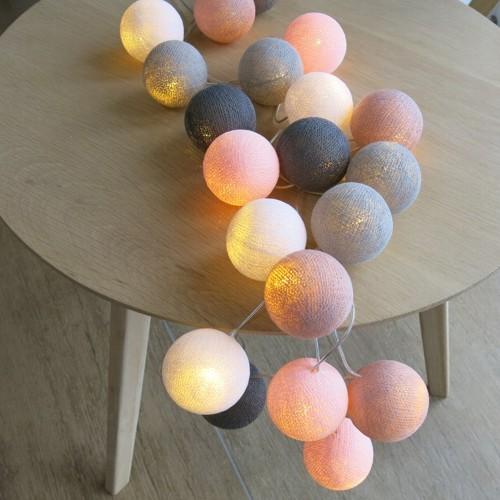Cotton Ball Lights 20 er Lichterkette rosa altrosa weiß grau Bälle LED Kugeln
