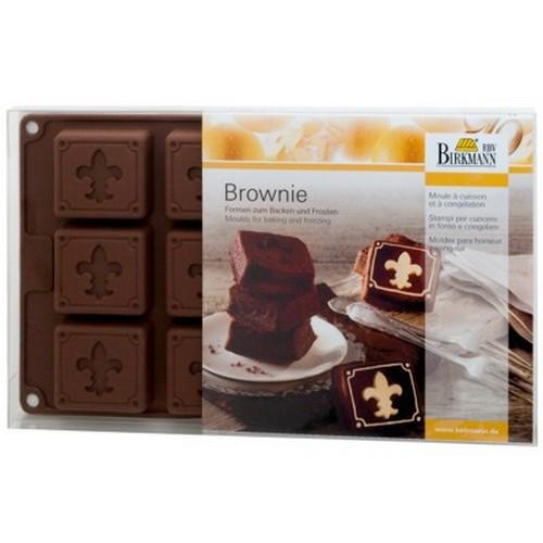 Backform Brownie mit Lilie Fleur de Lys Silikon 12 er Birkmann