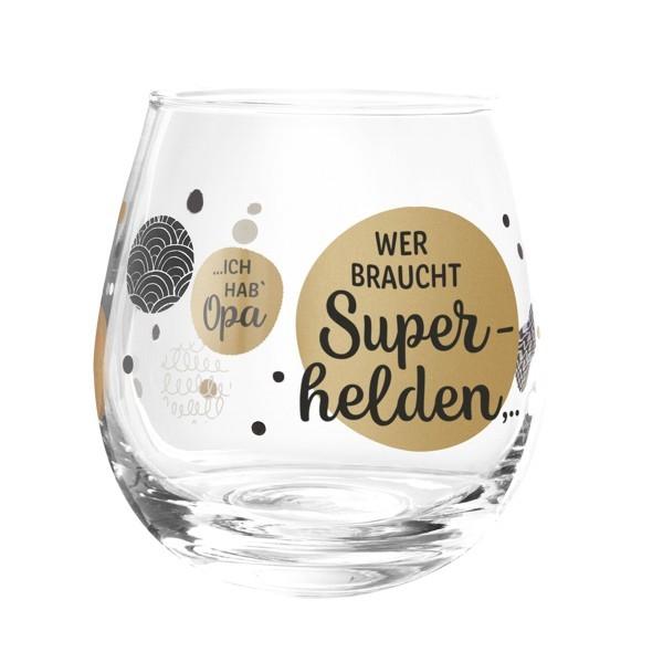 Formano Glas Spruch Opa Wer braucht Superhelden Prosit Wein Wasser Cocktail