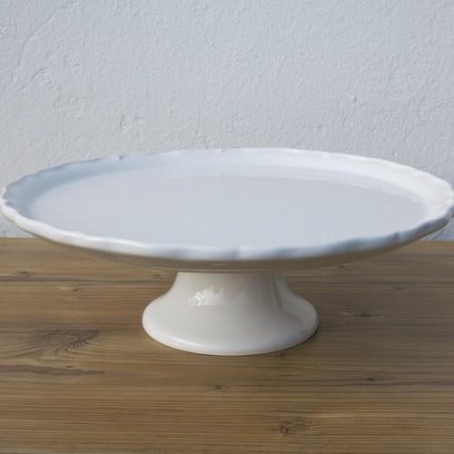 tortenplatte auf fu 34 cm vintage wei keramik newstalgie ebay. Black Bedroom Furniture Sets. Home Design Ideas