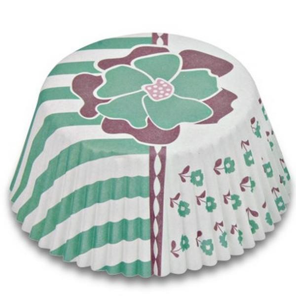 Muffinförmchen Cupcake Papierförmchen Muffin Blüte Blume türkis Städter