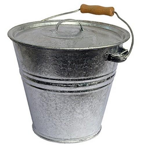 Eimer mit Deckel 28 cm Ascheeimer 8 l Zink Zinkeimer verzinkt Metall