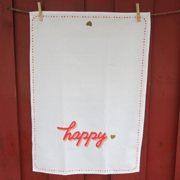 Geschirrtuch Happy Life happy glücklich zufrieden froh fröhlich lustig