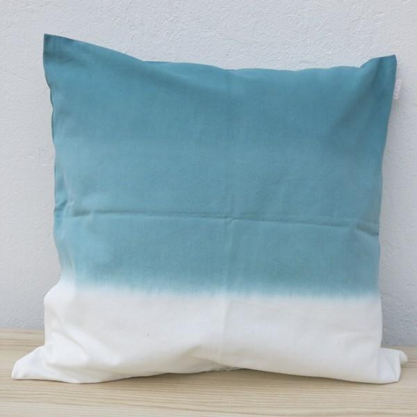 Linum Kissenhülle Dip Dye türkis weiß Farbverlauf Kissen 50 x 50 cm