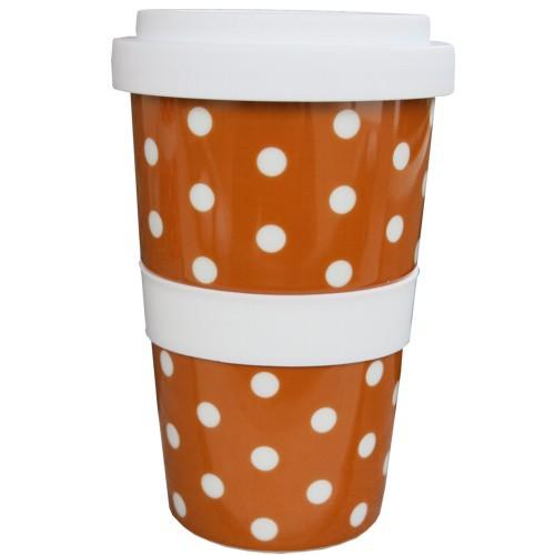 Coffee to go Becher braun Punkte weiß Polka Dots Kaffeebecher NEWSTALGIE