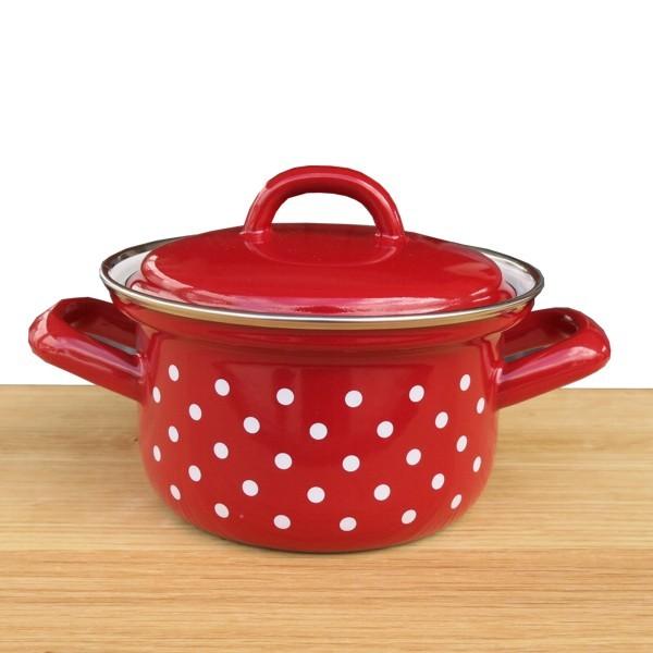 Riess Emaille Topf rot 12 cm Pünktchen weiß Punkte Kochtopf mit Deckel