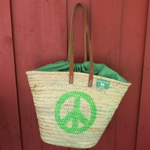 Ibizatasche Peace grün Korbtasche Ibiza Tasche Markttasche