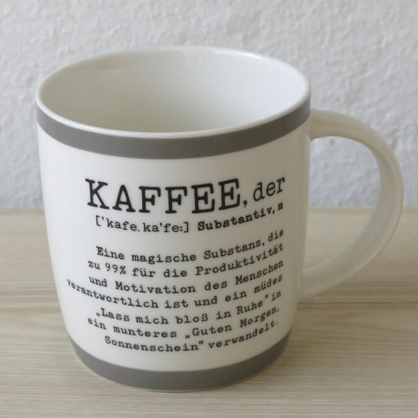 Vintage Art Becher der Kaffee eine magische Substanz Gute Laune Tasse
