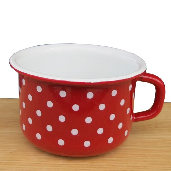 Riess Emaille Kaffeeschale rot 10 cm Pünktchen weiß Punkte Becher