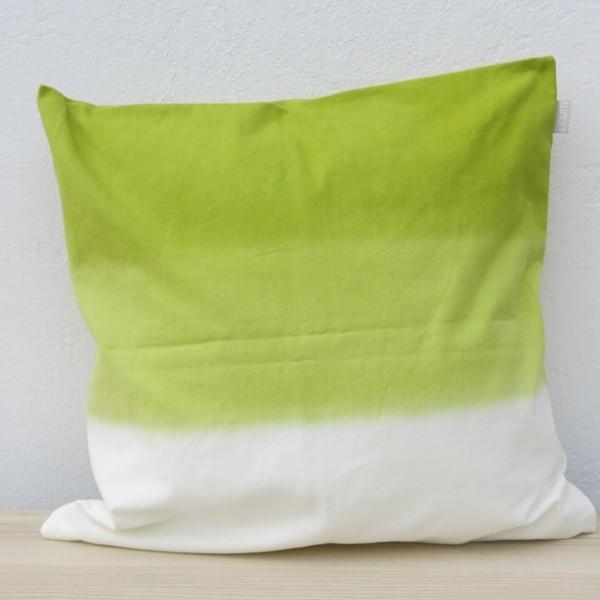 Linum Kissenhülle Dip Dye grün weiß Farbverlauf Kissen 50 x 50 cm