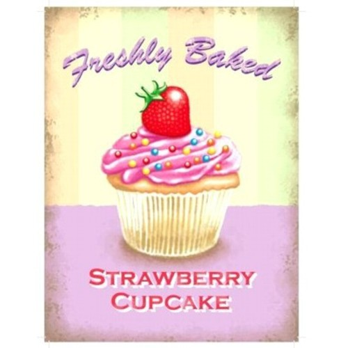Metallschild Cupcake groß Erdbeere Blechschild Muffin Magnettafel