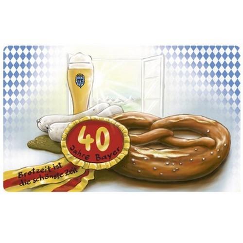 Frühstücksbrettchen 40 Jahre Bayer Geburtstag Brotzeit ist die schönste Zeit