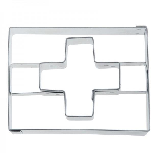 Ausstechform Flagge mit Kreuz 10 cm Ausstecher Schweiz Städter