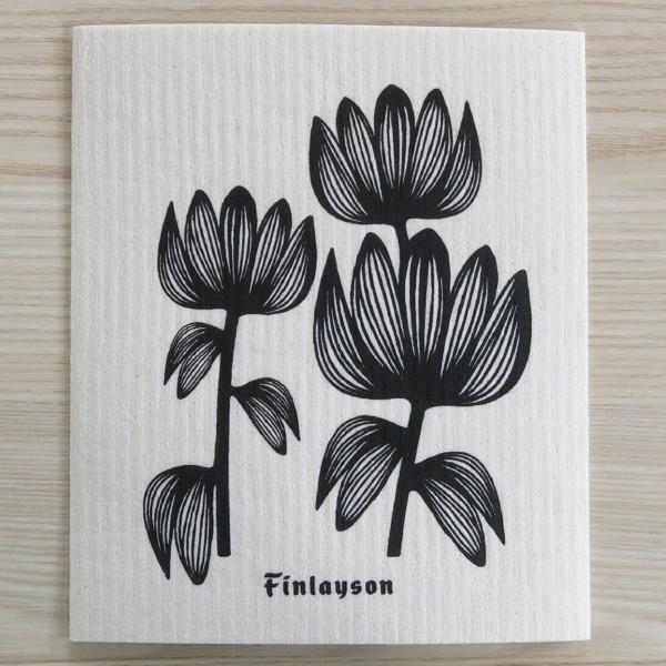 Spüllappen waschbar Blume schwarz More Joy Spültuch Schwammtuch NEWSTALGIE