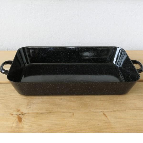Riess Emaille Bratreine schwarz 44 cm Bräter Auflaufform Email Bratpfanne