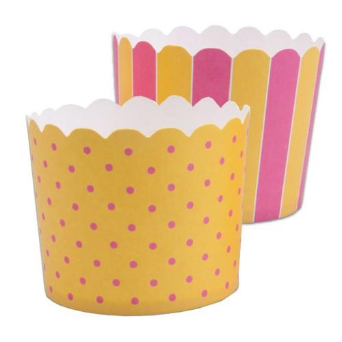 Muffinförmchen Cupcake Papier Cups gelb pink Muffin Städter 12 Stück