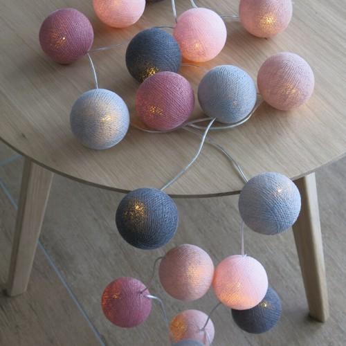 Cotton Ball Lights 20 er Lichterkette rosa altrosa grau Bälle LED Kugeln