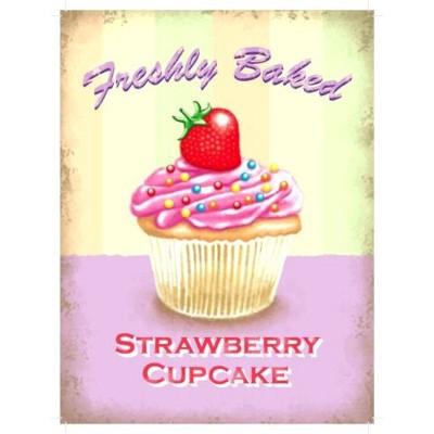 Metallschild Cupcake mittel Erdbeere Blechschild Muffin Magnettafel