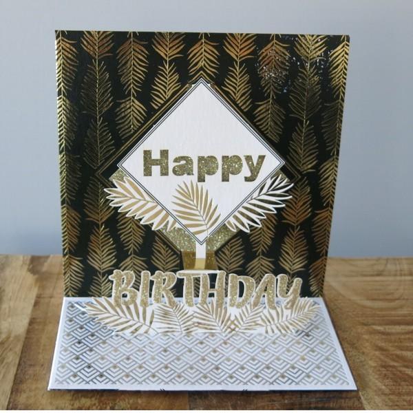 Pop Up Karte Geburtstag schwarz gold Blätter Happy Birthday 3 D