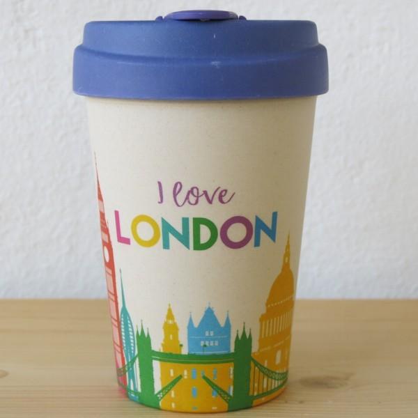 Bamboo Cup Coffee to go Becher I love London Skyline Bambus Kaffeebecher