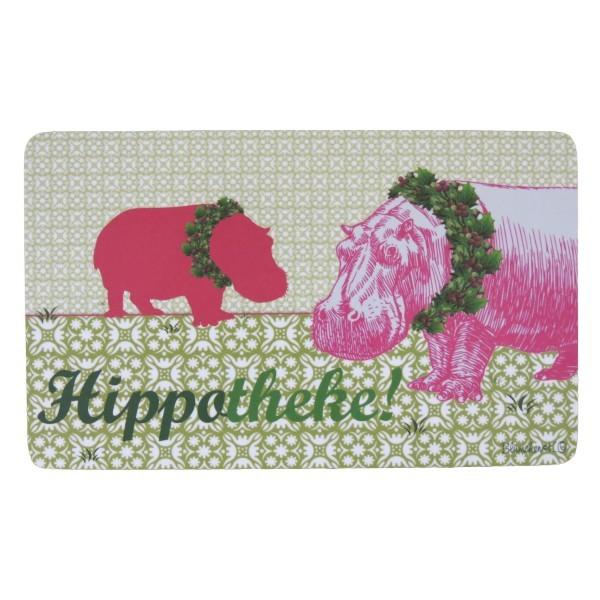 Frühstücksbrettchen Hippotheke Nilpferd Blümchen