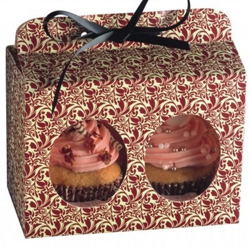 Cupcake Box für 2 Muffin 5er Set Flora Schachtel Geschenkbox Kaiser