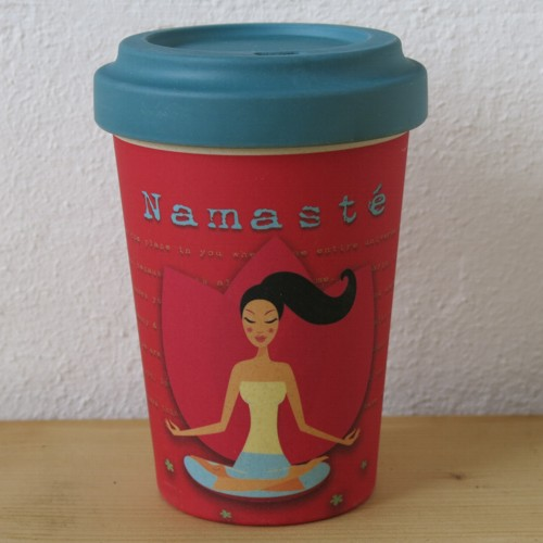 bamboo cup coffee to go becher yoga love namaste bambus bamboo cup marken newstalgie. Black Bedroom Furniture Sets. Home Design Ideas
