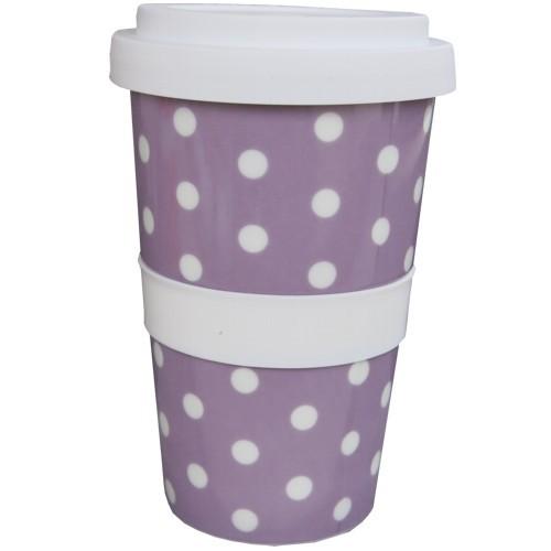 Coffee to go Becher lila lavendel Punkte weiß Polka Dots Kaffeebecher NEWSTALGIE