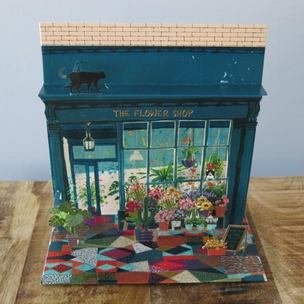 Pop Up Karte Florist Blumen Laden 3 D Flower Shop