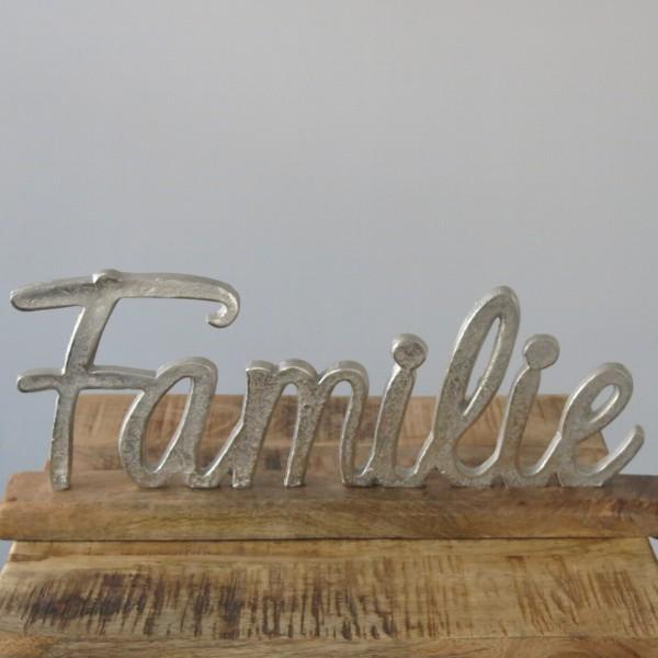 Schriftzug Familie 43 x 17 cm Aluminium Holz Deko Objekt
